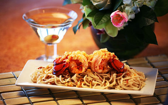 Lobster Tails with Garlic Noodles
